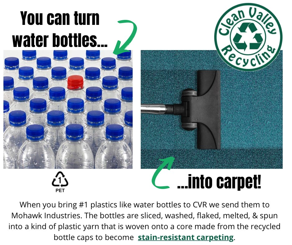 You can turn water bottles into recycled carpet